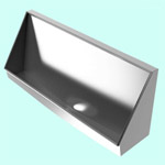 GW6 Tabernas V2 Waterless Urinal Trough -  1200mm Centre Outlet